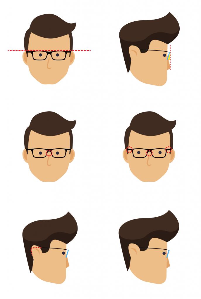 Óculos sendo ajustado no rosto do cliente